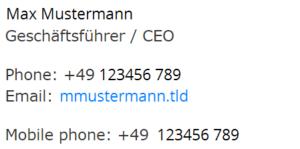 Advanced E-Mail Signature and Disclaimer Mobile Ansicht
