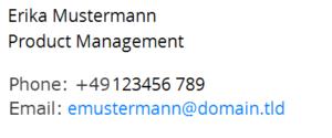 Advanced E-Mail Signature and Disclaimer Mobile Ansicht bei leeren Feldern