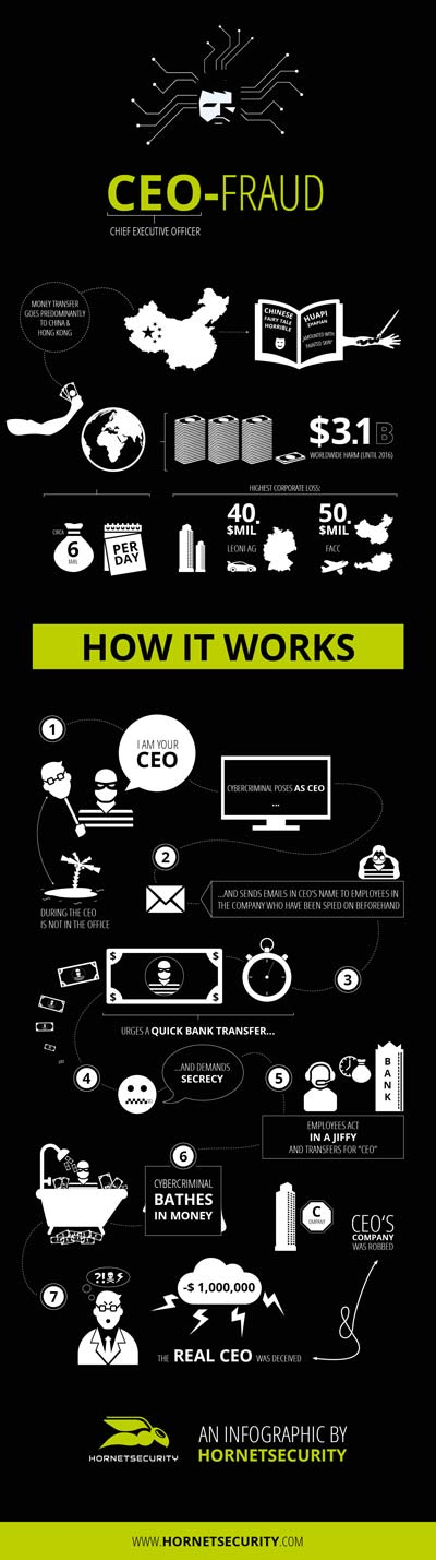 CEO Fraud infographic by Hornetsecurity