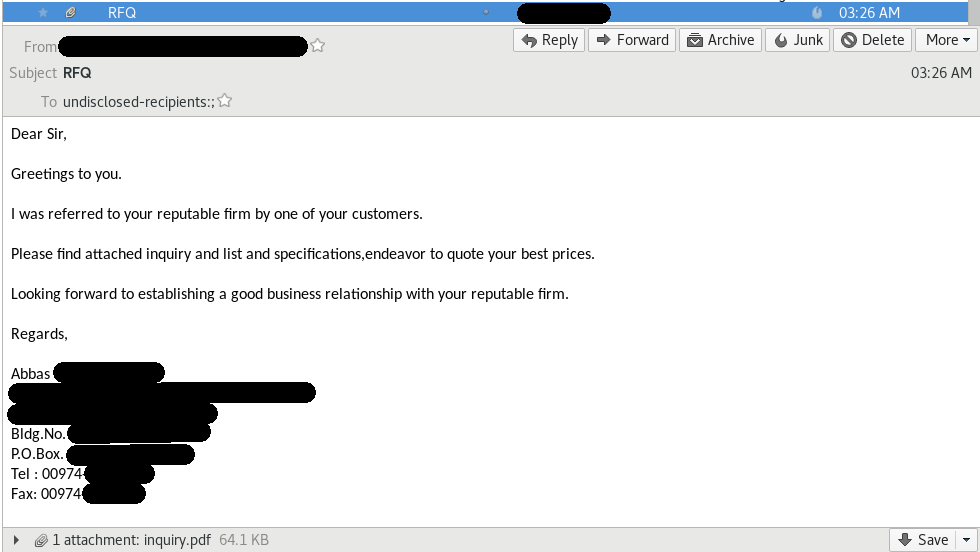 Example of a phishing mail