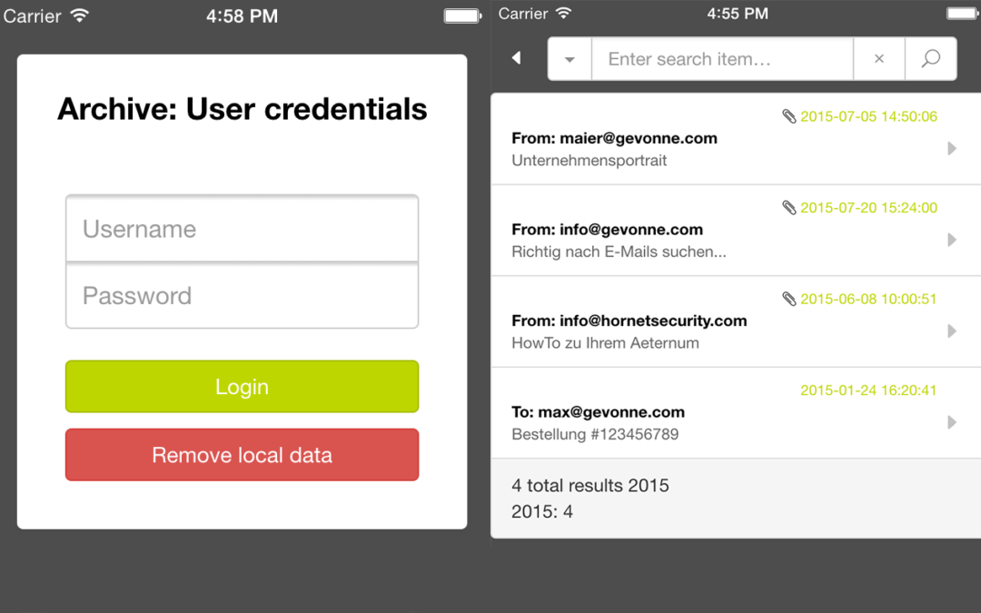 Search your email archive on the go