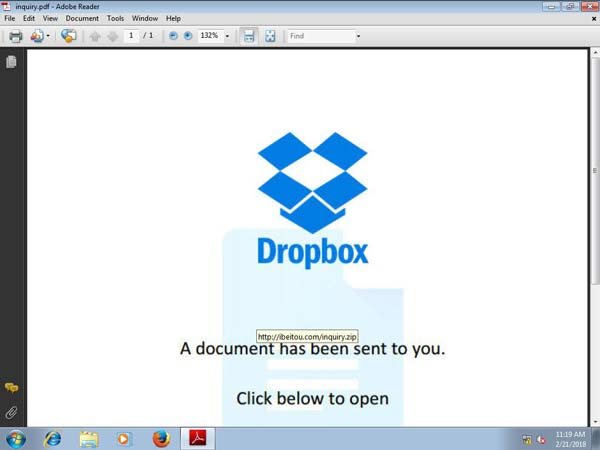 Fake Dropbox-Seite zu Malware-Link