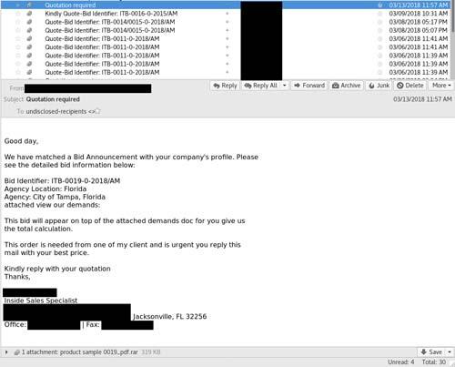 Beispiel einer Phishing-Mail, mit der die Malware ausgeliefert wird.