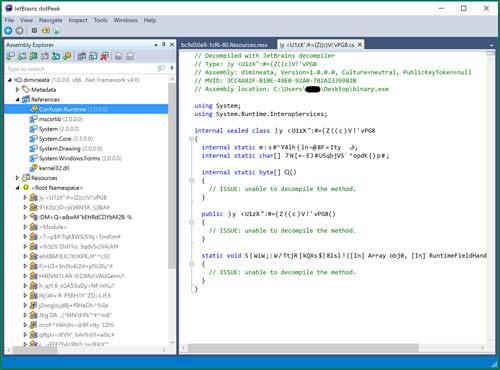 Über den .NET Decompiler dotPeek lässt sich analysieren, wofür Confuser verwendet wird.