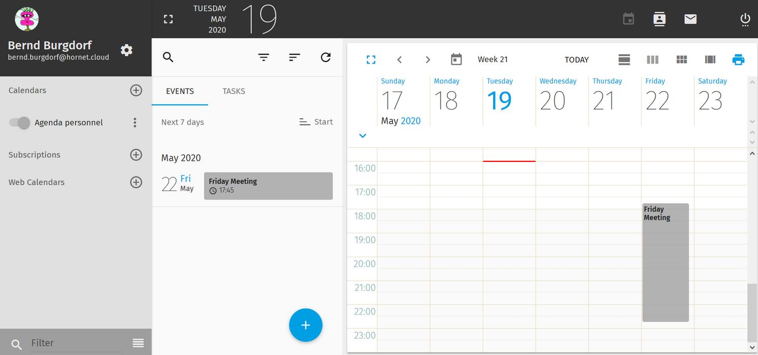 Hornet.email calendar