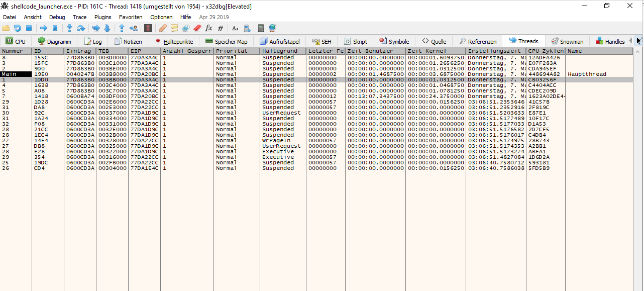ProLock running multiple threads for file encryption.