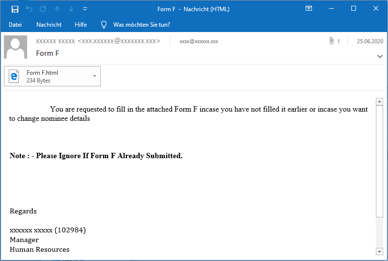 TA505 initial email