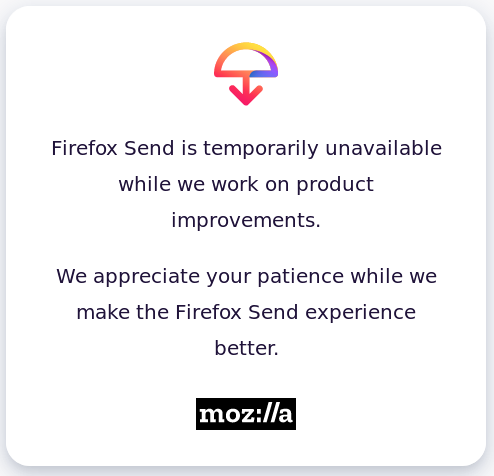 Firefox Send temporarily disabled
