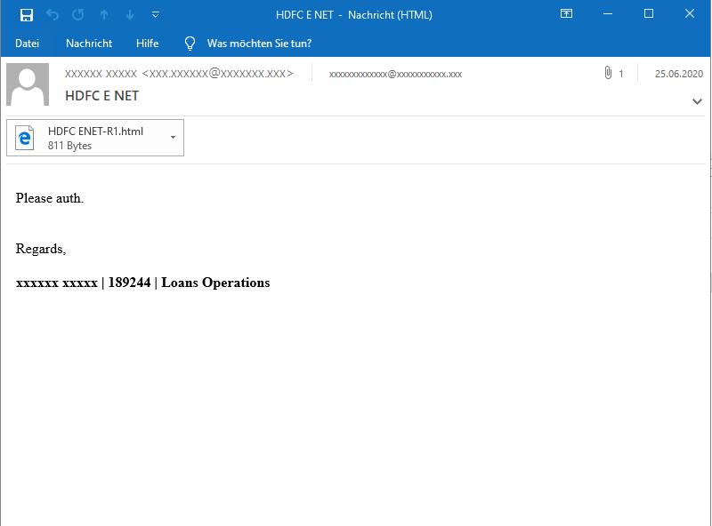 TA505 ursprüngliche E-Mail