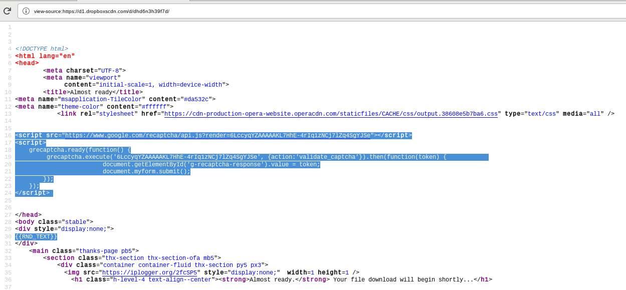 TA505 HTML-Vorlage fehlgeschlagen