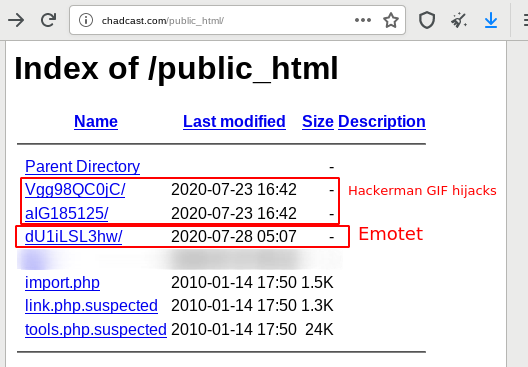 Emotet opendir with 2 GIF hijackings