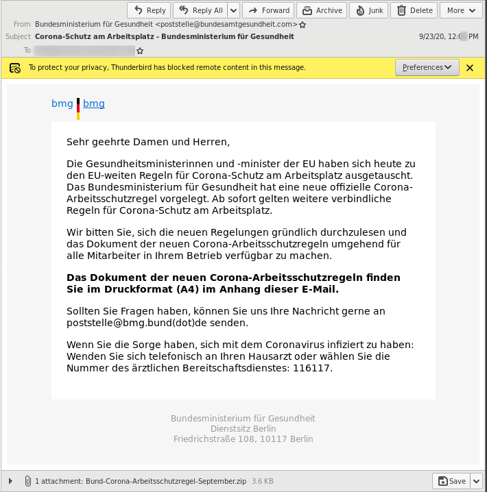Fake email from the German Federal Ministry of Health