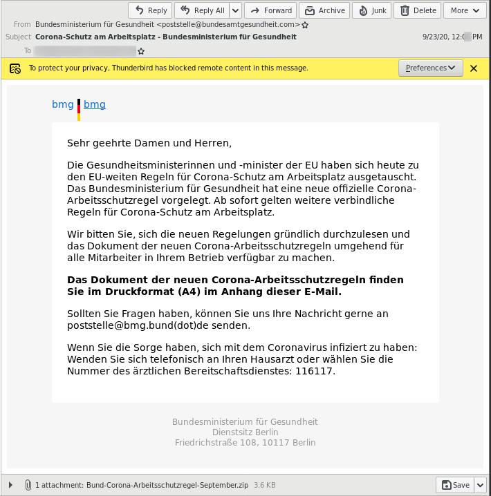 Bsp Fake-Email des BMG