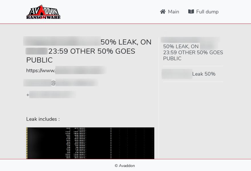 Avaddon leak site