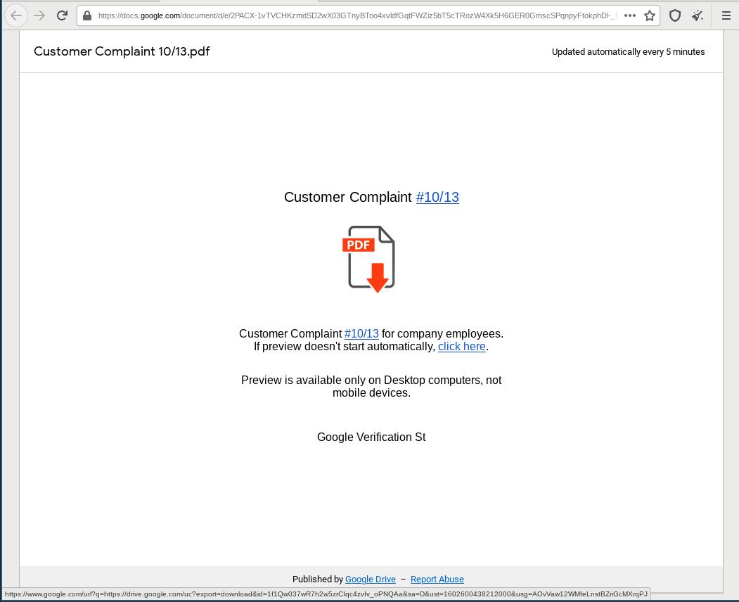 Google Doc distributing BazarLoader
