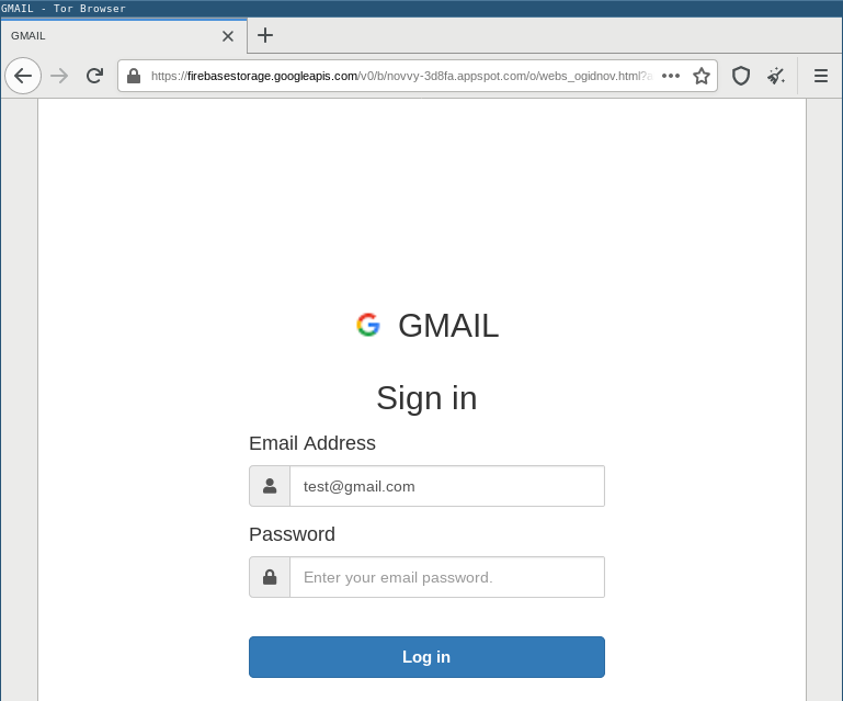 Phishing kit hosted on Firebase