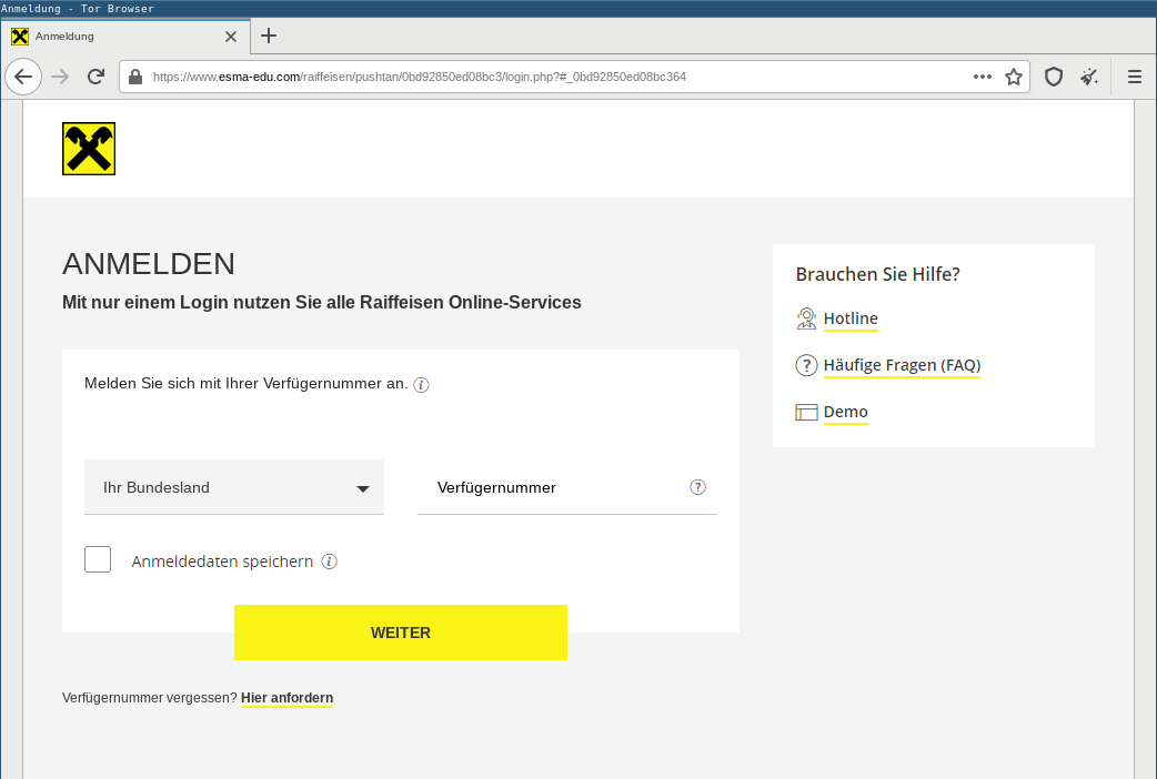 Geo-fenced Raiffeisen ELBA phishing