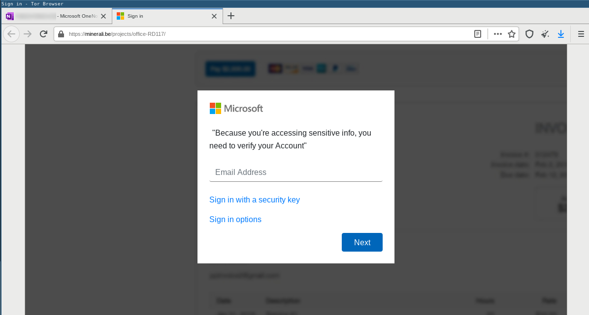 Phishing redirected to fake Microsoft SSO login page