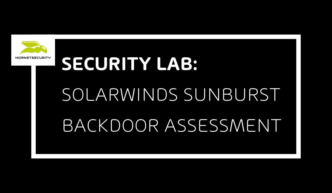 SolarWinds SUNBURST backdoor assessment