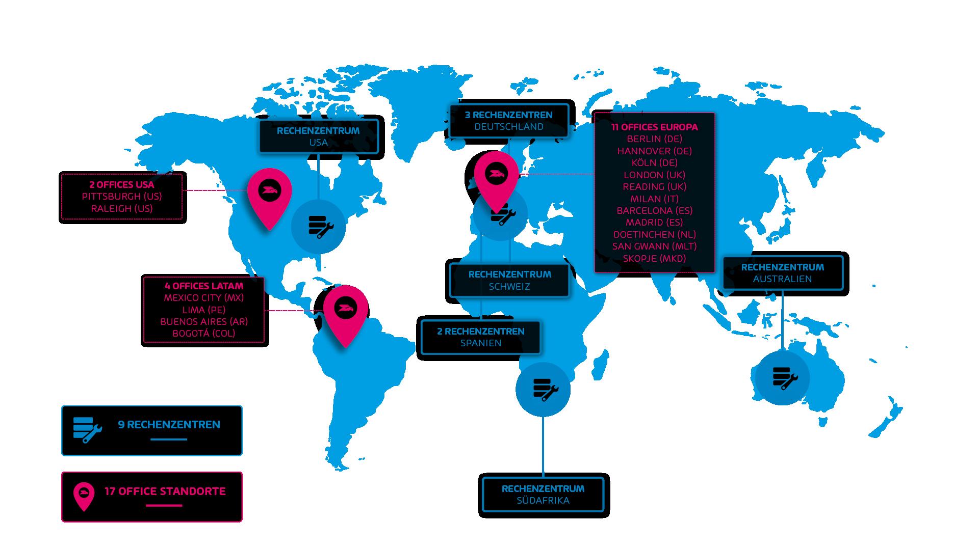 Weltkarte - Hornetsecurity Büros und Rechenzentren