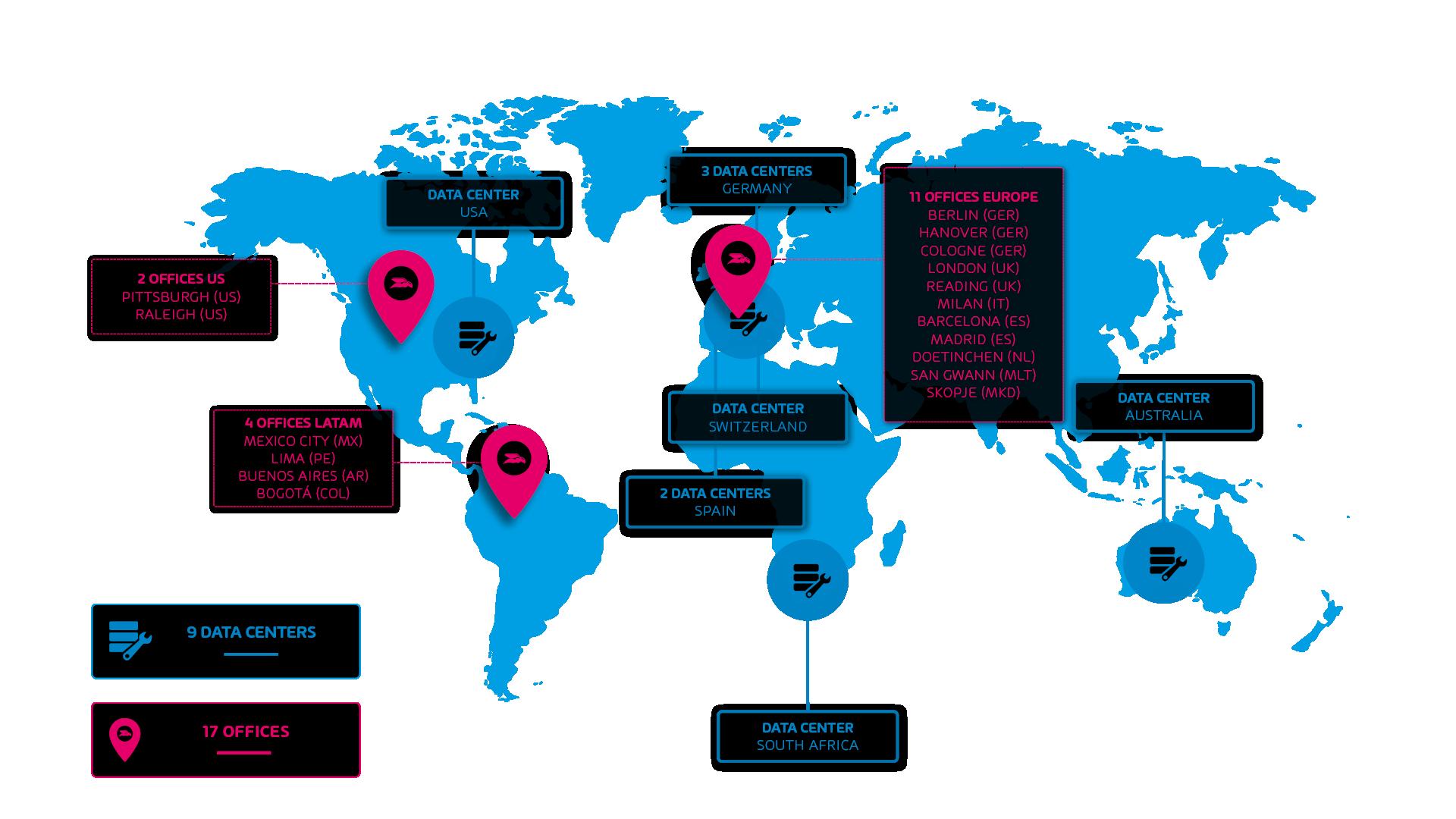 Wereldkaart - Hornetsecurity kantoren en datacenters