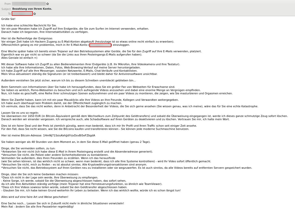 Sextortion spam wave email example