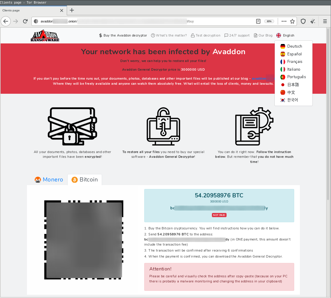 Avaddon ransomware US $3M ransom demand