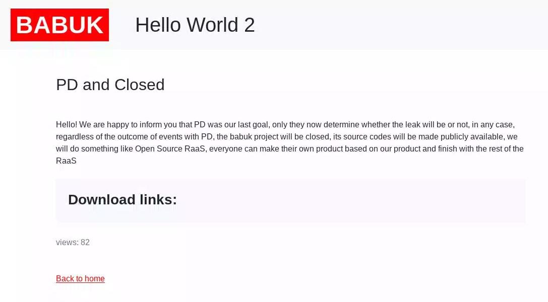 Babuk ransomware press release announcing closing