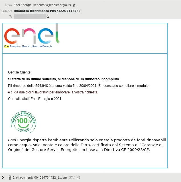 Cutwail-A email