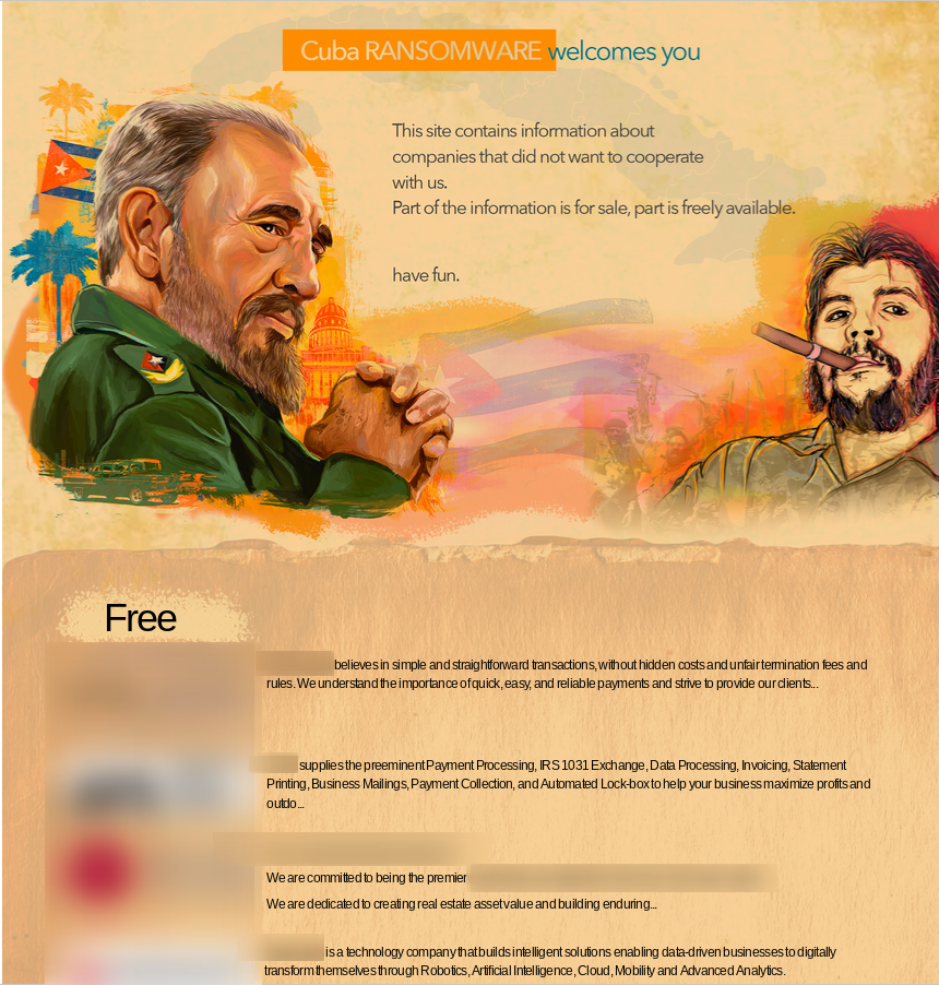 Cuba ransomware leaksite