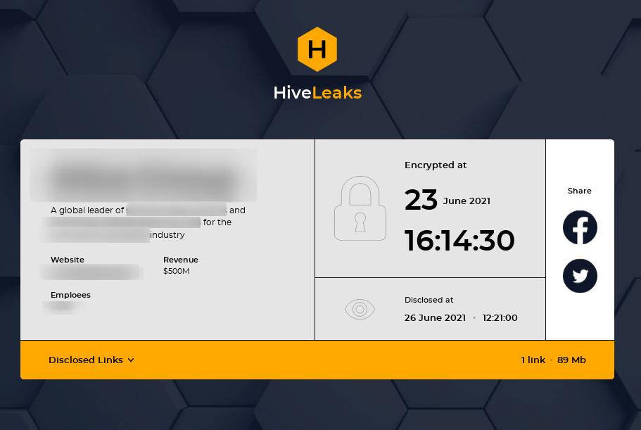 Hive ransomware leak site
