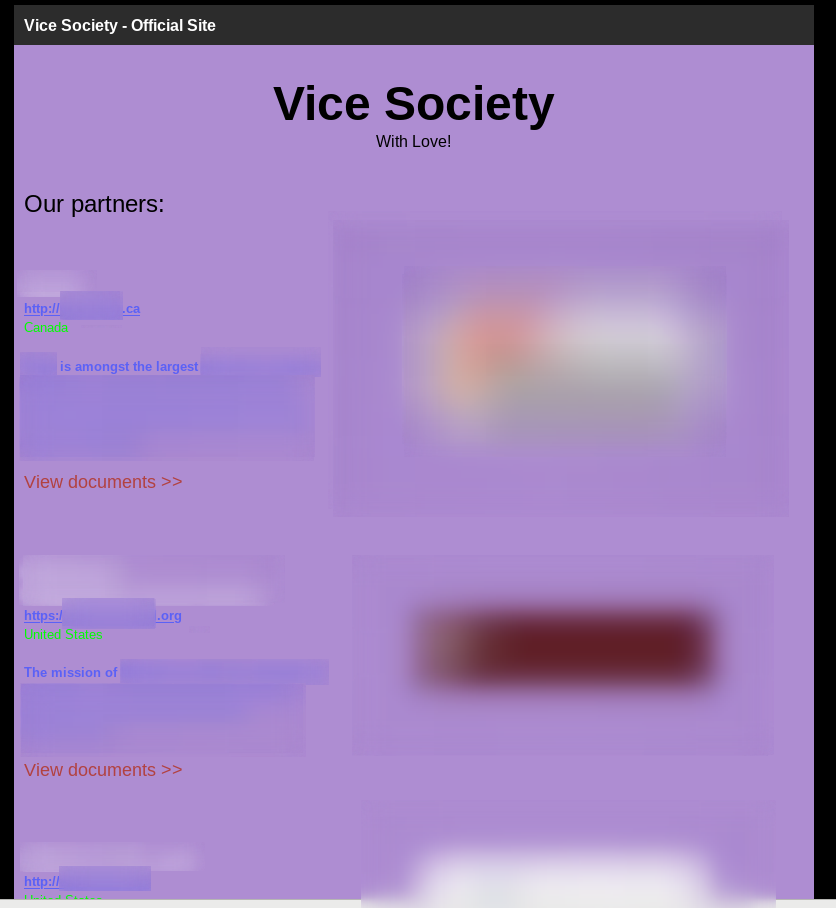 Vice Society ransomware leak site