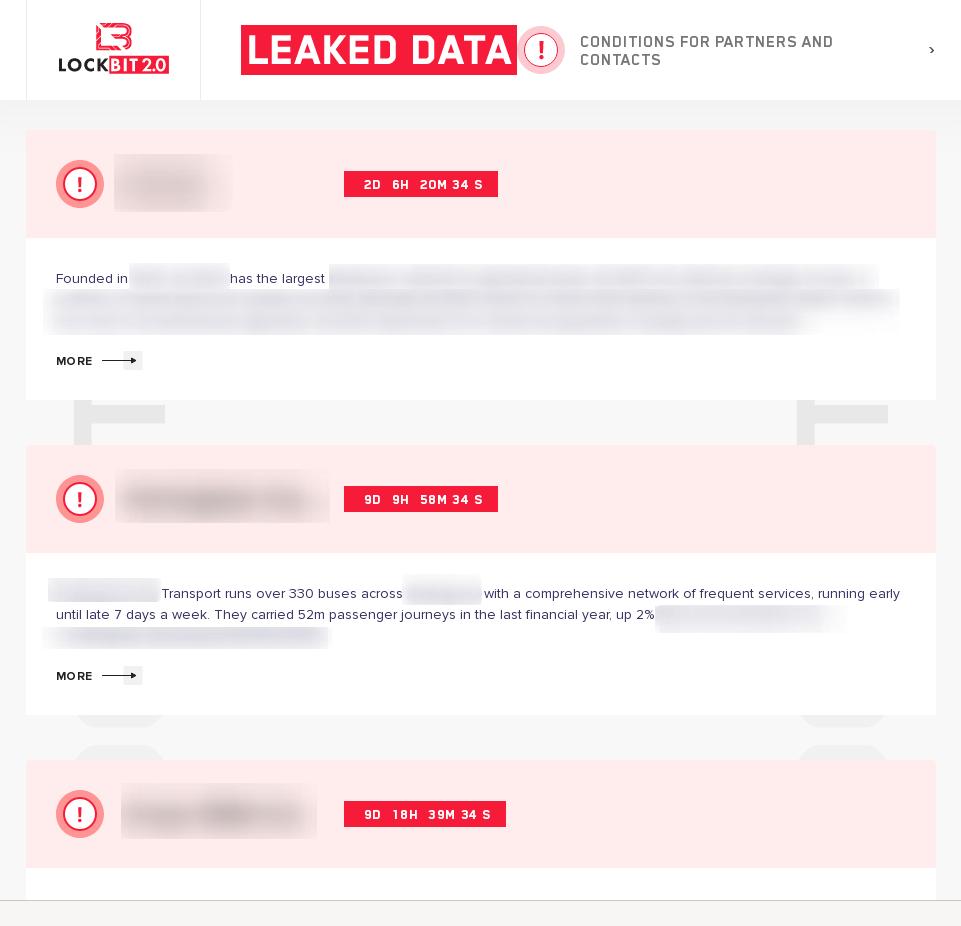 LockBit 2.0 leak site