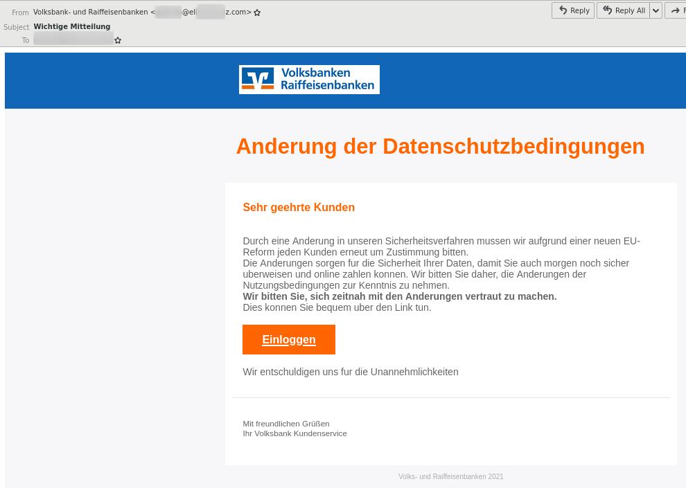 VR-Bank Phishing